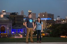 Nighttime Engagement Photos | Kansas City Skyline | Unique Engagement Pics | Kansas City Wedding Photography | www.anthem-photo.com