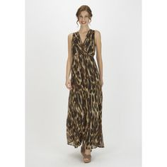 I Love The Mixture Of Browns And Creams On This F&F Animal Print Chiffon Maxi Dress!
