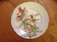 """Jean Pouyat Limoges France Antique Plate Hand Paint  7.5"""" EUC Patent Date 1895"""