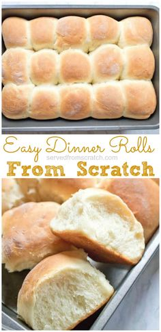 Homemade bread is always better and these Easy Dinner Rolls From Scratch are so simple to make that you ll never want to go back to store bought again recipe dinnerrolls easy homemade quick Easy Bread Recipes, Easy Dinner Recipes, Baking Recipes, Breakfast Recipes, Dessert Recipes, Simple Bread Recipe, Quick Recipes, Breakfast Ideas, Delicious Recipes