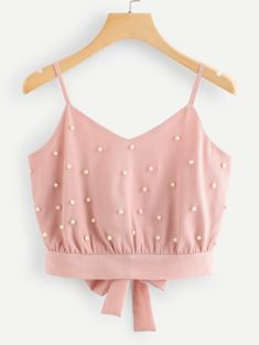 Shop Pearl Beaded Split Tie Back Crop Cami Top online. SheIn offers Pearl Beaded Split Tie Back Crop Cami Top & more to fit your fashionable needs. Cami Tops, Cami Crop Top, Cute Crop Tops, Halter Crop Top, Halter Neck, Women's Tops, Girls Fashion Clothes, Teen Fashion Outfits, Womens Fashion
