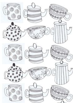 tea cups and Tea pots Art Print: