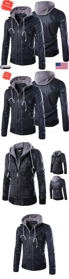 Men Coats And Jackets: Mens Winter Warm Slim Motorcycle Jacket Leather Hooded Trench Coat Outwear Tops -> BUY IT NOW ONLY: $66.99 on eBay!