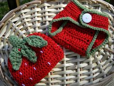 Crochet Diaper Cover and Hat Set, Strawberry  No pattern
