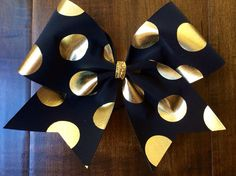 Cheer Bow Black with Gold Polka Dots by FullBidBows on Etsy