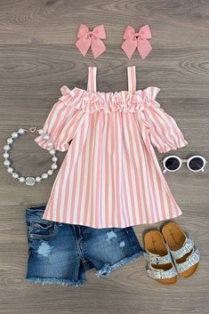 Blush & White Stripe Sunkissed Top - Clothing World Frocks For Girls, Little Girl Outfits, Kids Outfits Girls, Toddler Girl Outfits, Little Girl Fashion, Little Girl Dresses, Cute Outfits, Girls Summer Dresses, Girls Frock Design