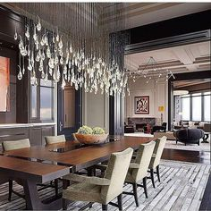 Dramatic lighting makes the space.