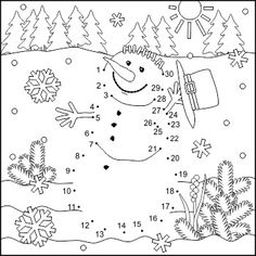Connect the Dots and Coloring Page with Snowman, Commercial Use Allowed