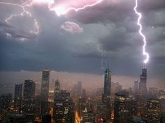 Lightning strikes the Willis Tower (formerly the Sears Tower) on June 12 in Chicago.