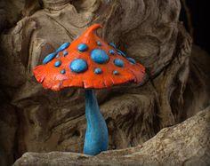 Rustic orange white fairy garden fantasy mushroom by Petradi