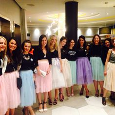 Sex and the city, Carrie inspired midi tutu black tops and heels, hen badges. Hen party in Cologne
