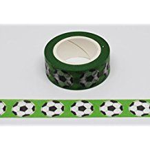 wolga-kreativ Washi Tape grün Fußball Masking Tape Dekoband Klebeband