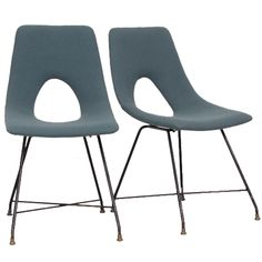 Pair of Augusto Bozzi Side Chairs for Saporiti Italy 1950s