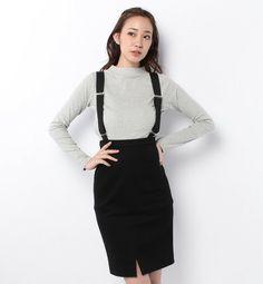 ShopStyle(ショップスタイル): Khaju カージュ ハイウェストサスペンダースカート□