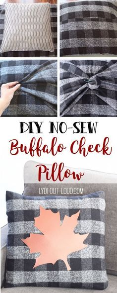 "This Buffalo Check and faux leather pillow was so easy to make and with NO SEWING! Thats my kind of ""sewing"" project! #nosew #buffalocheck #nosewpillow #diyhomedecor"