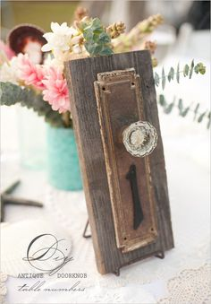 These DIY Wedding Project is by far one of the prettiest table number ideas I've seen. Door knob table numbers are great for a vintage. Diy Door Knobs, Antique Door Knobs, Do It Yourself Wedding, Diy Wedding, Wedding Ideas, Wedding Reception, Dream Wedding, Wedding Decor, Wedding Centrepieces