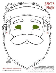 heres a jolly santa mask to cut out and color find more fun christmas printables