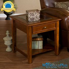 Charmant Walnut End Table Panorama Display Glass Seethru Top Side Accent. $179.99