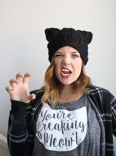 black cat slouch - free cat hat crochet pattern from persia lou