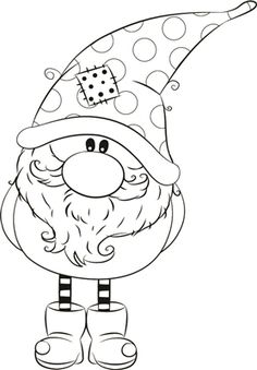 Thomas winter Gnome Coordinating Die Cut below. Christmas Gnome, Christmas Colors, Christmas Art, Christmas Ornaments, Christmas Drawing, Christmas Paintings, Colouring Pages, Coloring Books, Mandala Coloring