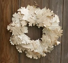 book/sheet music wreath, cut out leaves