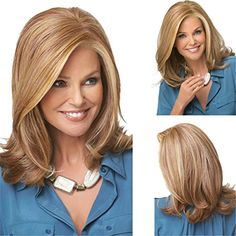 YX 45CM 18 Natural Ombre Wigs For Women Synthetic Curly Medium Hair Wig Party WigBlonde Ombre ** You can find more details by visiting the image link.(This is an Amazon affiliate link and I receive a commission for the sales)