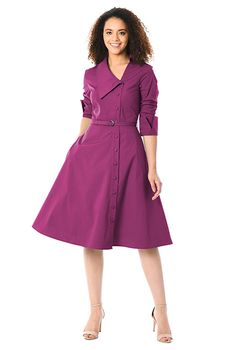 Tailored and crisp, our casual-chic poplin dress is styled with a shawl collar at the asymmetric V-neck and side button closure, and cinched in with a removable self-belt. Coat Dress, Belted Dress, Shirt Dress, Casual Dresses, Fashion Dresses, Dresses For Work, Fashion Coat, Red Blouses, Blouses For Women