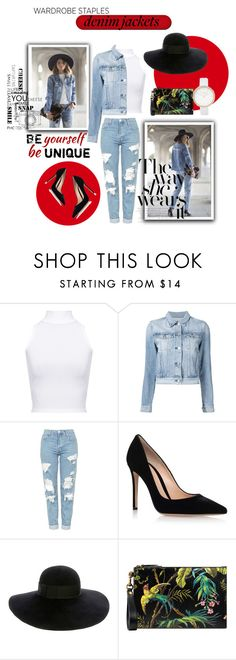 """""""Denim Jackets"""" by shyscreamx ❤ liked on Polyvore featuring WearAll, 3x1, Topshop, Gianvito Rossi, Eugenia Kim, Gucci, River Island, red, denim and Heels"""