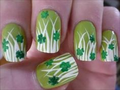 St. Patricks Day Nail Art Dancing Clovers Tutorial