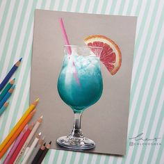 """7,315 Gostos, 118 Comentários - Chloe O'Shea (@chloeoshea) no Instagram: """"Cocktail no. 1 My first attempt at drawing a cocktail and fruit. It took me over 2 months and is…"""""""