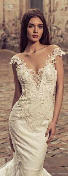 julia kontogruni 2018 bridal cap sleeves sweetheart neckline heavily embellished bodice elegant mermaid wedding dress sheer lace back royal train (2) zv -- Julia Kontogruni 2018 Wedding Dresses
