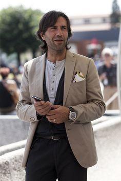 Henley, soft vest, blazer, twill pants, belt, handkerchief