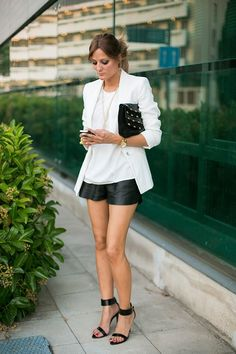 STREET STYLE : White blazer with leather shorts...