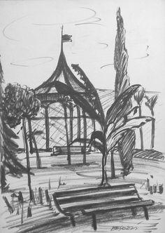 E. Besozzi pitt. s.d. (1957) Giardini (Sesto Calende) pennarello su carta cm. 33x23,2 arc. 1166r