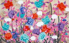 김근중 작가_전통 민화의 구성처럼 꽃잎을 활짝 벌린 풍성한 모란꽃이 화면 전체를 뒤덮고 있는 모습을 그림.  전통을 현대적으로 재해석하여 동양화에서는 잘 쓰이지 않을 법한 화려한 색채들을 과감히 사용하는 등의 조형적 실험을 계속 해나가는 작가.