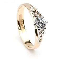 Trinity Diamond Celtic Engagement Ring - 14K Yellow Gold