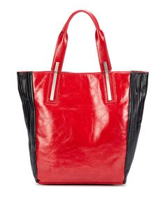 Another great find on #zulily! Red & Black Chiron Leather Tote #zulilyfinds