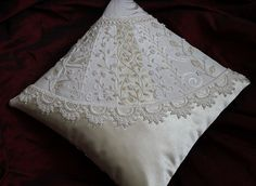 Humming Needles: crazy-quilted ring bearer's pillow