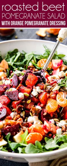 Roasted Pomegranate Beet Salad recipe is a beautifully DELICIOUS company or special occasion side that everyone will go crazy for! It also can be made ahead of time! via Roasted Pomegranate Beet Salad recipe is a beaut. Beet Goat Cheese Salad, Roasted Beet Salad, Beet Salad Recipes, Healthy Recipes, Easy Recipes, Best Thanksgiving Side Dishes, Thanksgiving Recipes, Lady Fitness, Pomegranate Vinaigrette