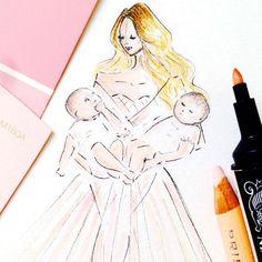 Mommy and Me Portait, Custom portrait, Custom Fashion illustration, custom illustration , portrait illustration