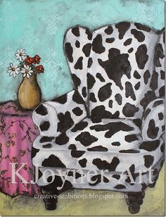 Cow Print Chair Painting... KJoyner Art @ creative-ambitions.blogspot.com