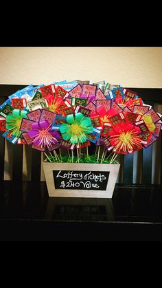 Cute flower basket made of Lottery tickets. Cute flower basket made of Lottery tickets. Theme Baskets, Themed Gift Baskets, Fundraiser Baskets, Raffle Baskets, Lottery Ticket Tree, Diy Birthday, Birthday Gifts, Auction Baskets, Candy Gifts