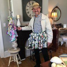 Isn't he lovely in his #churchladyaprons that we purchased at @shabtoochic this afternoon. #sophiarosedesigns