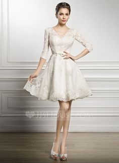 A-Line/Princess V-neck Knee-Length Bow(s) Zipper Up Covered Button Sleeves 1/2 Sleeves Beach Hall Reception General Plus No Spring Summer Fall Ivory Lace Wedding Dress