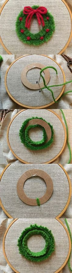 feeling stitchy: MooshieStitch Monday: Plushwork Wreath Quick and easy diy wreath for Christmas decor! Christmas Makes, Christmas Cross, Christmas Fun, Christmas Wreaths, Christmas Decorations, Christmas Ornaments, Christmas Sewing, Christmas Embroidery, Hand Embroidery
