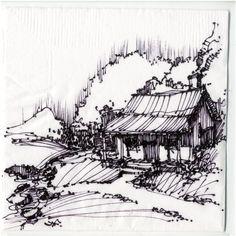 AIA Gainesville napkin sketch competition. Ink on cocktail napkin. - John Fechtel