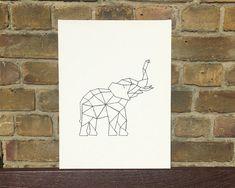 Geometric Elephant / String art / Embroidery by ByPryorArrangement