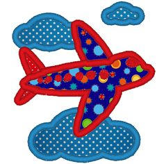 Airplane embroidery applique file. $2.00, via Etsy.