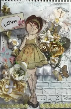"""Altered shabby chic Prima doll stamp & zephyr paper collection floral girly journal notebook titled """" LOVE """""""