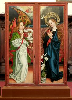 Altarpiece, The Annunciation.by Martin Schongauer,oil on pine panels,Musée d'Unterlinden in the Dominican Church,Colmar (France) Catholic Art, Religious Art, Photography Illustration, Art Photography, Martin Schongauer, Renaissance Artworks, John The Baptist, Medieval Art, St Michael